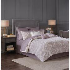 16 pcs Jacquard Comforter sheet set Purple Ivory Medallion Damask Cal King Queen