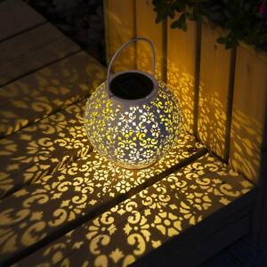 Solar Big Lantern Hanging Garden Outdoor Lights Metal LED Table Decorative Lamp