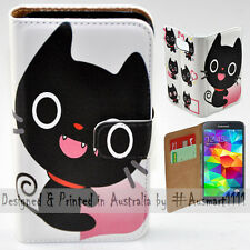 Wallet Phone Case Flip Cover ONLY for Samsung Galaxy S5 - Cute Black Cat Cartoon