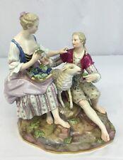 Gorgeous Large Antique Porcelain Meissen Couple Figures Feeding A Sheep
