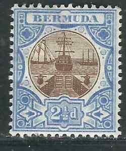 Bermuda Stamps 37 SG 40 2 1/2p Brown & Ultra Dry Dock MH VF 1906 SCV
