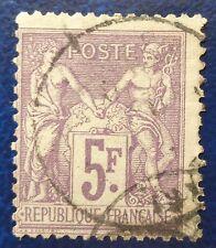 France oblitéré, n°95, 5F violet, Sage type 2, 1877