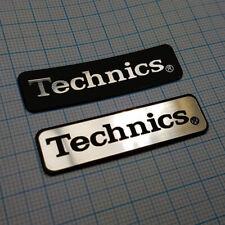 2 x TECHNICS - Aluminium Metallic Logo Sticker Badge - 48 mm / 14 mm