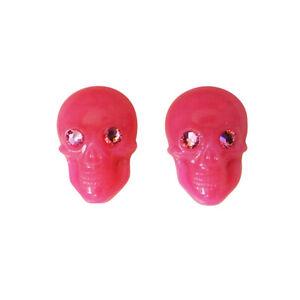 Tarina Tarantino Classic Skull Pink Lucite Post Earrings ~Made in California~