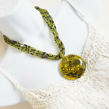 "Large Circular Pendant Green & Black Bead Multi Strand Necklace 48cm 19"" [1624]"