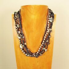 "18"" Black Silver Mother of Pearl Shell Handmade Seed Bead Statement Necklace"