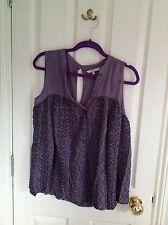 Next Dusky Purple Sleeveless Swing Top, Size 10, VGC