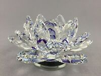 15cm Rotatable Crystal Purple Lotus Flower Wedding Gift Home Decoration