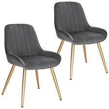2xEsszimmerstuhl Küchenstuhl Wohnzimmerstuhl samt + Metall dunkel grau