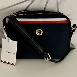 Tommy Hilfiger Genuine Signature Monogram Plaque Crossbody Navy Bag