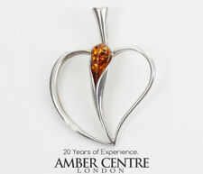 Heart Pendant  Elegant Handmade Baltic Amber in 925 Silver  PD105 – RRP£55!!!