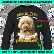 Personalized Goldendoodle Golden Dog Sweater Long Sleeve Life Better Mom Gift