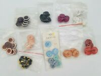 Lot of Vintage Button Sets Colorful Plastic Gold