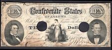 The Confederate States Of America: 10 dollars, Sep 2nd 1861, punch hole cance...