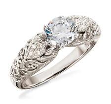 925 Sterling Silber Zirkonia Ring Vintage Inspiriert Verlobung Ehering
