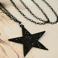 Strass Schönheit lange Halsketten-Schwarz Big-Pentagram-Stern-Anhänger-de