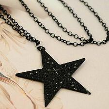BIN Strass Schönheit lange Halsketten-Schwarz Big Pentagram-Stern