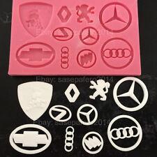 Car brand logos silicone mold 10 cavities, fondant, clay. Molde Logo de carros.
