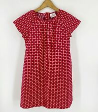 Hanna Andersson Dress Girls Sz 140 (US 10) Red White Cotton Short Sleeve Printed