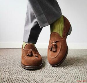 Mens suede leather Tassels slip on loafers business Dress formal Shoes