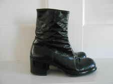 Vintage Florsheim 1970's Black Patent Leather Platform Side Zip Boots Rare 7W