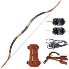 Traditional Handmade Longbow Horsebow Hunting Archery Recurve Bow Set 30-50lbs