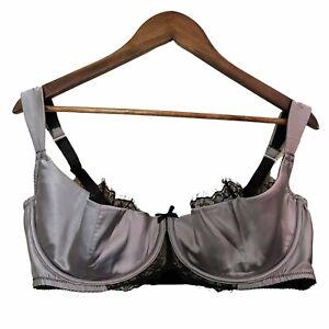 Cacique Women's Gray Satin Black Lace Half Cup Underwire Bra Size 42DDD/42F
