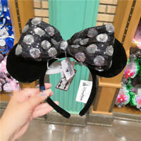 Disney park Minnie Mouse Ear Headband White Black with Removable Bow