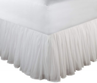 Greenland Home Fashions Cotton Voile 18-Inch White Bed Skirt, King
