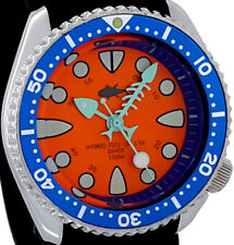 Vintage diver FISH-BONE hand set HYBRID Mod SHARK TOOTH dial w/Genuine 7002 case