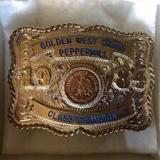Cinco Pesos 5 Peso Mexico Gold Coin in Sterling Silver Belt Buckle - 86g Total