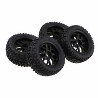 4 Pcs RC Buggy Wheels & Tyres 1/10 Scale Off-road Car For HSP HPI Redcat Black