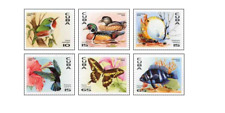 KUB9606 Birds, fish, butterflies exotic fauna of the Caribbean 6pcs