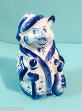 GZHEL Russian Hand Painted Porcelain Mouse Figure Russian Santa Claus