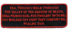 Psalms 23-4 Red Embroidered Christian BIKER PATCH