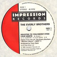 EVERLY BROTHERS 45 * Devoted To You * UNPLAYED MINT EP * 1983 * Re-Union EDITION
