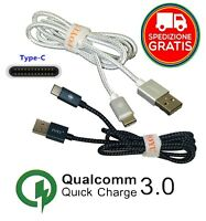 ✅ CAVO USB TYPE C TIPO RICARICA RAPIDA DATI SAMSUNG HUAWEI SONY ASUS XIAOMI LG
