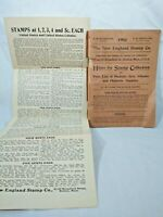 1903 THE NEW ENGLAND STAMP CO. Hints Price Lists Philatelic Supplies US Colonies
