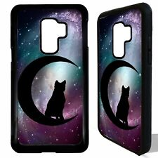 Black cat crescent moon magic art case cover for Samsung Galaxy S9 / S9 plus