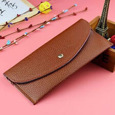 simple women thin purse long clutch wallet leather PU handbag card holder