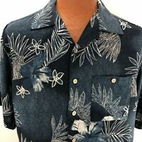 Montage Collection Hawaiian Aloha Medium Shirt Blue Hibiscus Palm Leaves