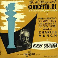 """MOZART Piano Concerto 21 K.467 CASADESUS MUNCH Columbia 33FC-1009 B/S 10"""" $4SHIP"""