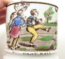 ENGLISH STAFFORDSHIRE PEARLWARE SOFT PASTE CHILDS MOTTO MUG FOOTBALL SCENE