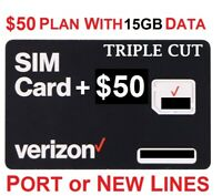 Verizon Wireless Prepaid Sim Card with $50 Plan 15GB data for life promotion