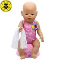LIN KUN Baby Born Doll Clothes Cute Red Swimsuit Bikini + Scarf Suit Fit 43cm