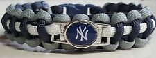 "New York Yankees ""NY"" Ball Cap Logo Navy Blue, Gray & White Paracord Bracelet"