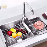 Telescopic Sink Stainless Steel Rack Drain Basket Dish Drying Kitchen Supplies