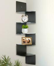 Greenco 5 Tier Wall Mount Corner Shelves Espresso 7.75 x 7.75 x 48.5 New