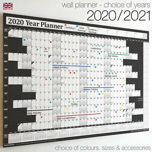 Wall Calendars ✔2020 ✔2021 Year Planner Chart Holidays Staff✔Home✔Office BLACK