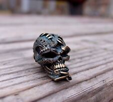 "skull bead ""Old Skull"". made of brass.  for knives or keychain."